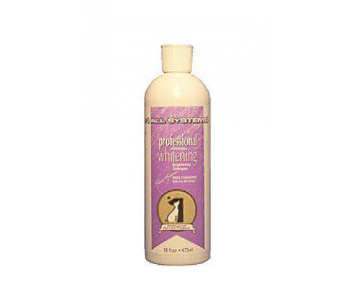 All Systems Whitening Shampo 473ml (Pälsvård). 473 ml / 149 kr. #1 All Systems Whitening Shampo hjälper till att ta bort de tuffaste fläckarna och dåliga lukter. Shampot framhäver pälsens naturliga glans och lyster. Innehåller inget blekmedel eller silikon utan endast naturliga ingredienser.   #1 All Systems Whitening Shampo rekommenderas till svarta, silvriga, vita och krämfärgade pälsar.