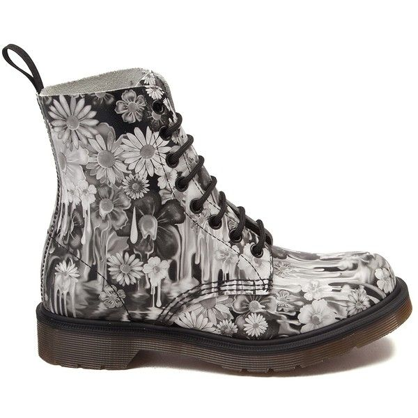 Womens Dr. Martens Pascal 8-Eye Slime Floral Boot ($99) ❤ liked on Polyvore featuring shoes, boots, floral-print shoes, flower pattern shoes, multi color boots, dr martens boots and dr. martens