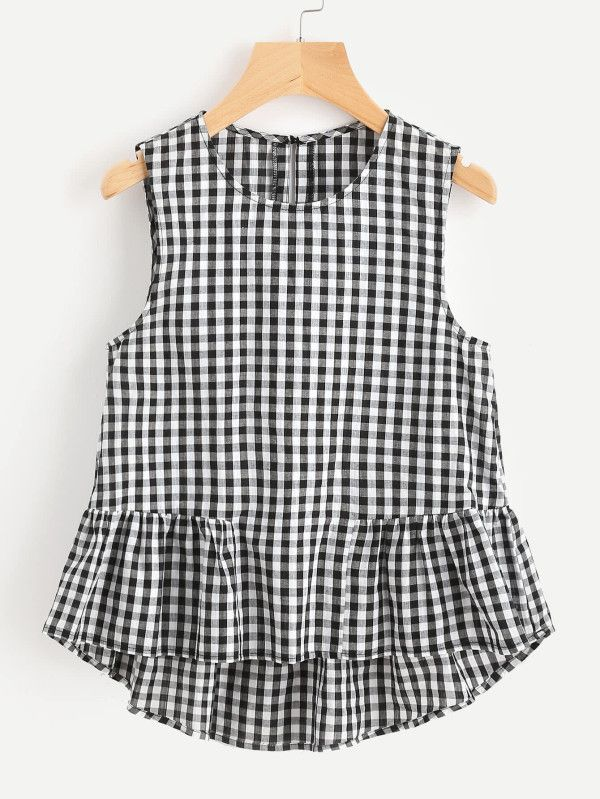 Buttoned Keyhole Tiered Hem Gingham Shell Top -SheIn(Sheinside)
