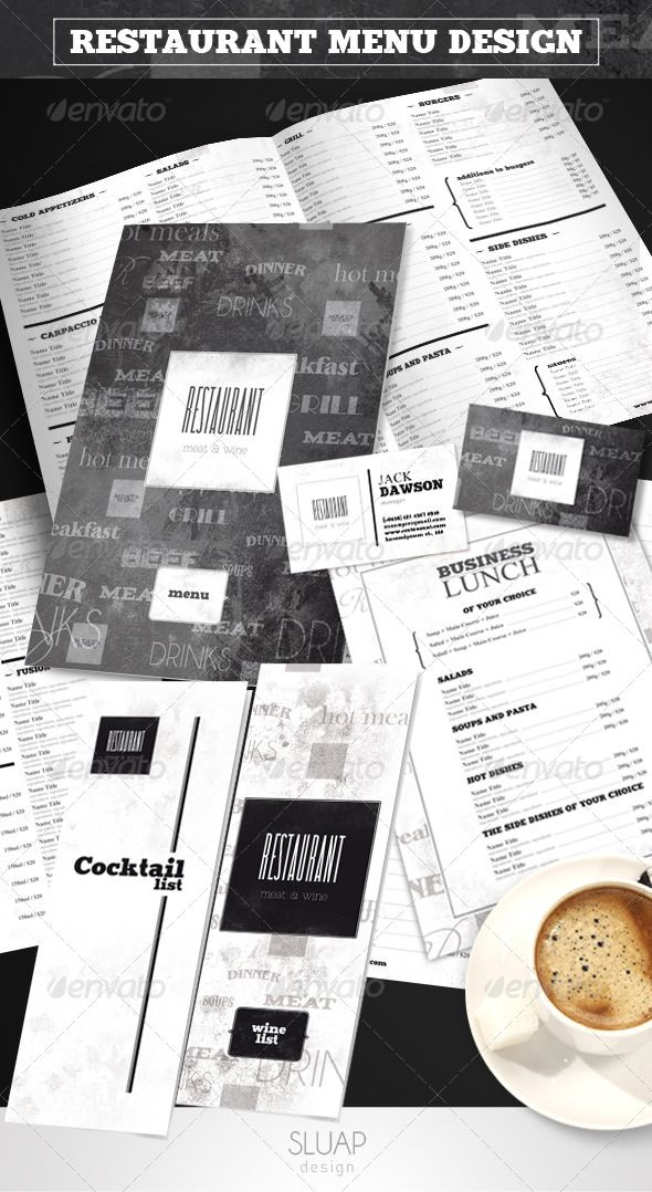 Best Restaurant Menus Images On   Restaurant Branding