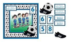 Football birthday card for girls with age and family sentiments and decoupage on Craftsuprint - View Now!