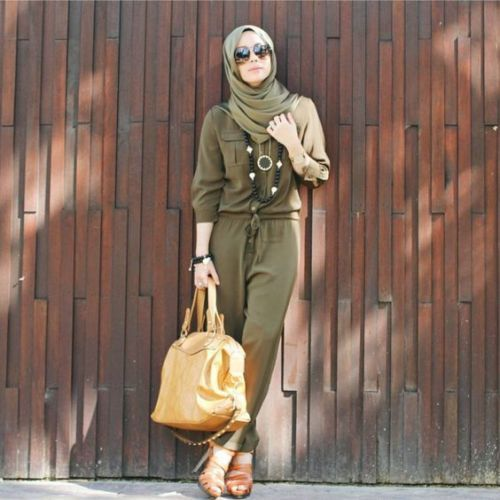 Olive jumpsuit with hijab-Eid hijab outfits for trendy girls – Just Trendy Girls