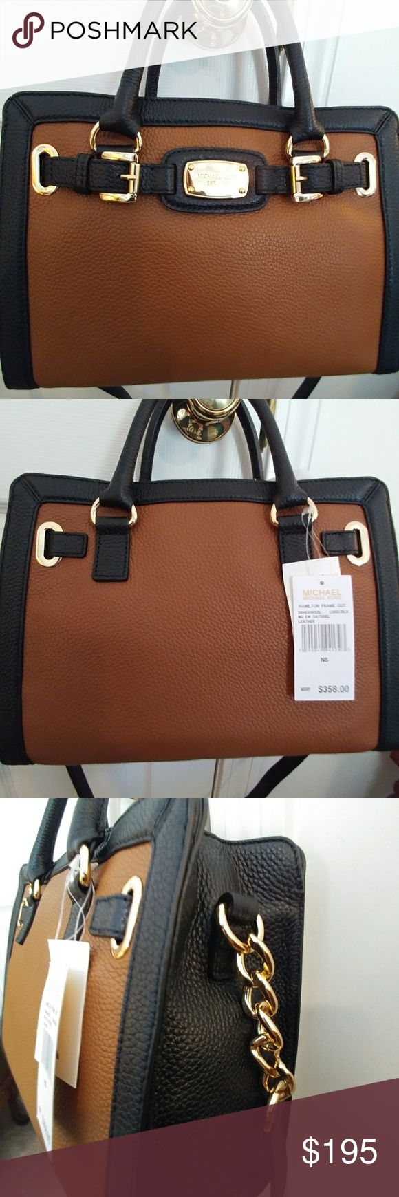 NWT Michael Kors e/w Hamilton frameout BNWT Michael Kors medium e/w Hamilton in limited edition frameout in black and luggage. Pebble leather and gold hardware. Real looker. Smokefree, Petfree home. Michael Kors Bags Satchels