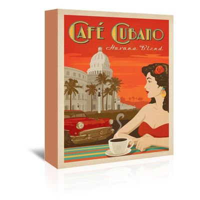 """East Urban Home Coffee Cafe Cubano Vintage Advertisement on Wrapped Canvas Size: 7"""" H x 5"""" W x 1.5"""" D"""