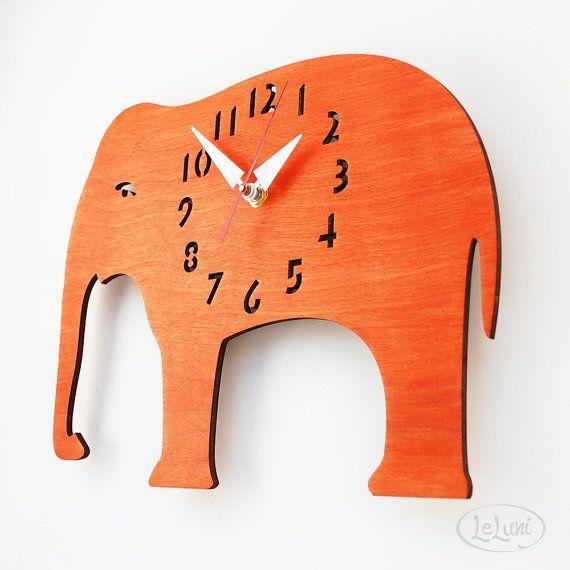 The Oh, My Orange Elephant designer wall mounted clock from LeLuni