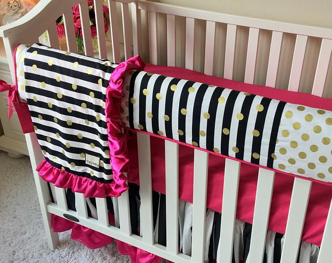 Black and White Stripe Baby Bedding, Hot Pink Crib Bedding, Gold Dot Baby Bedding, Girl Crib Bedding, Pink Crib Bedding, Baby Girl Bedding