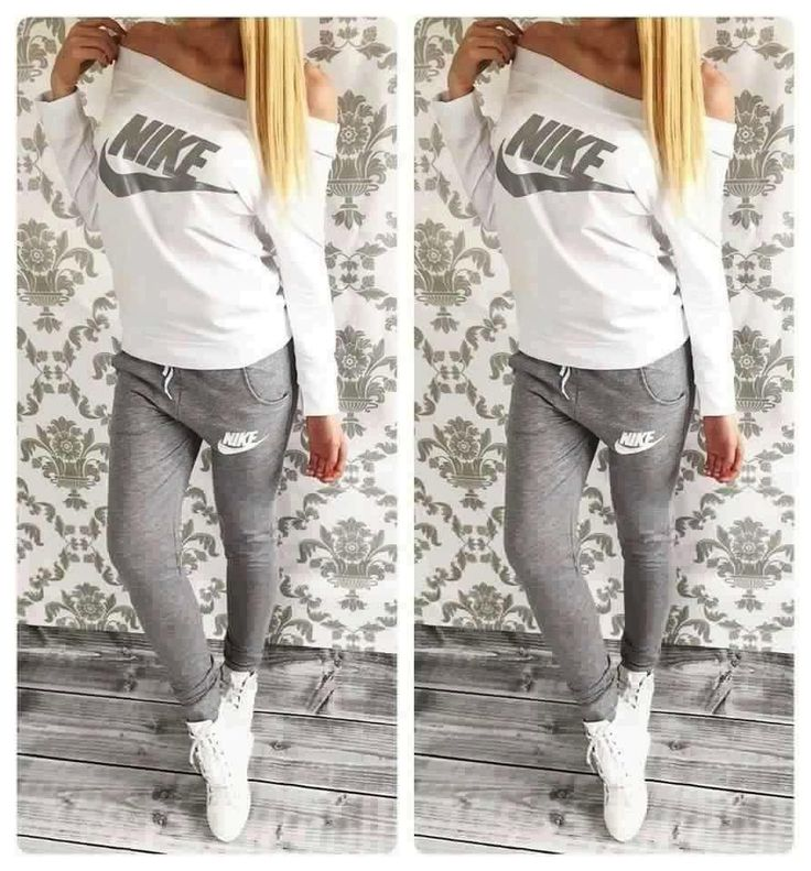 #pants #shirt #nike Stylish women's gray and milky sweatsuit