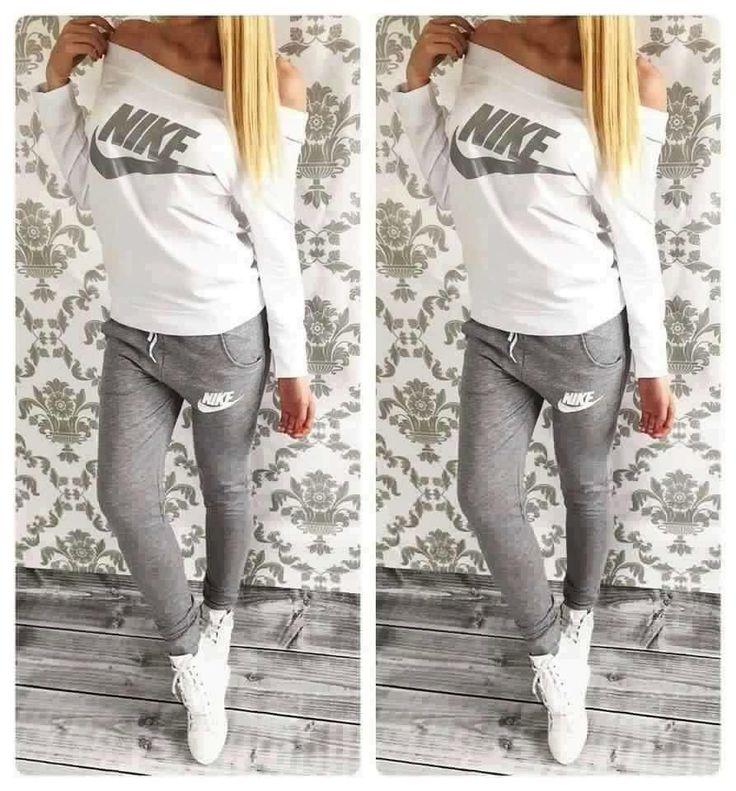 #pants #shirt #nike Stylish women's gray and milky sweatsuit