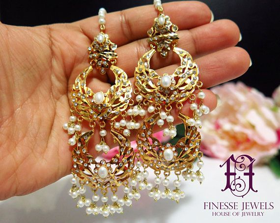 Jadau Hyderabadi Earrings, Hyderabadi Long Earrings Tikka Set, Nizami Mughal Jewelry  This Beautiful Rajputana and Nizami Earrings Pair will beautify any Formal or Semi Formal Dress. Gold Plated Intricately designed lovely long earrings are made in copper and silver alloy and
