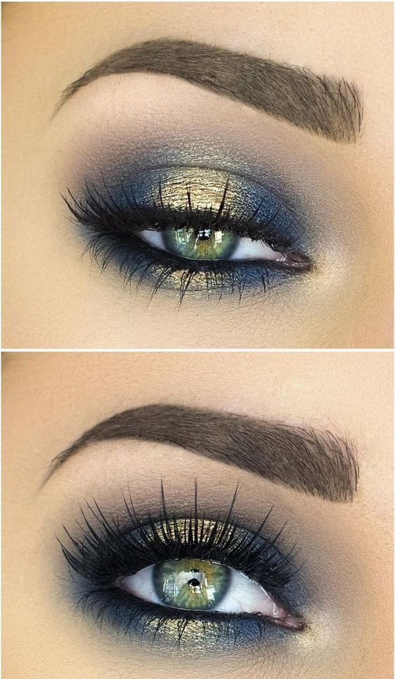 Halo smokey eye in navy blue and gold - LadyStyle