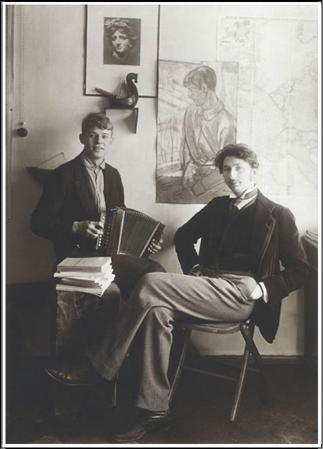 Sergueï Essenine et S. Gorodetsky en 1919.