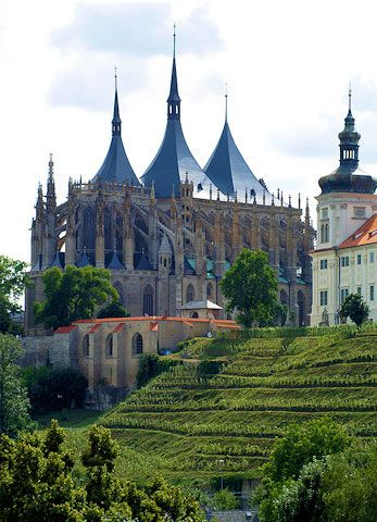 St. Barbara Cathedral, Kutna Hora, Czech Republic (begun in 1388) - GERMAN GOTHIC HALL CHURCH  - vaults of both the nave and aisles are the same height.