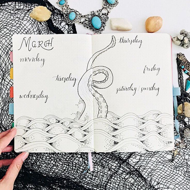 Bullet journal weekly layout, hand lettering, water drawing, waves drawing, octopus drawing. | @mybulletlove