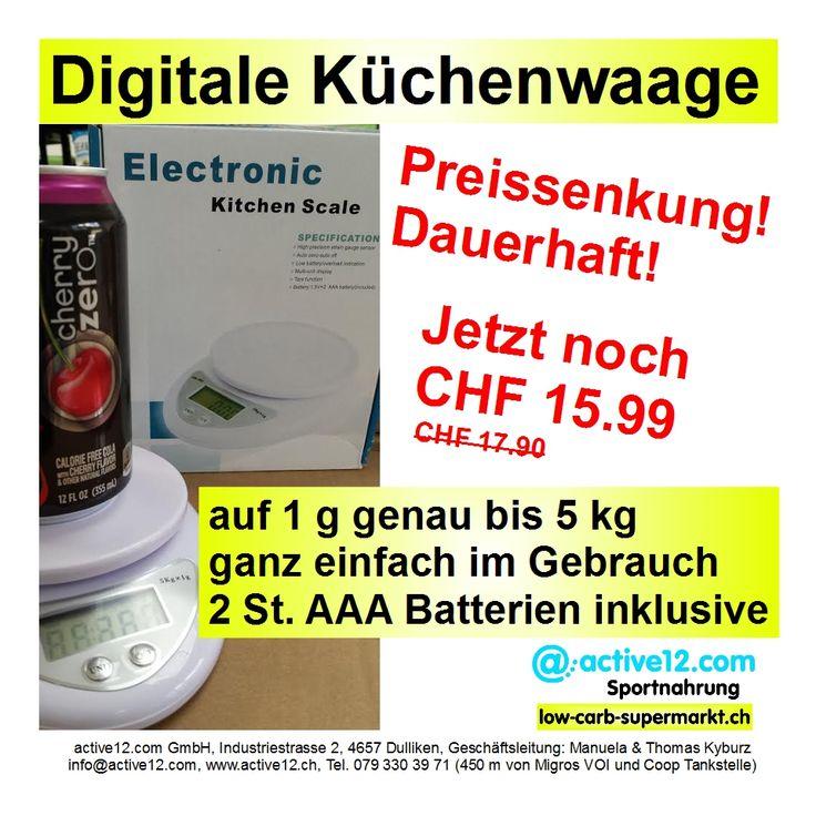 Digitale Küchenwaage auf 1 g genau bis 5 kg, ganz einfach im Gebrauch. 2 St. AAA Batterien inklusive. Preissenkung! Dauerhaft! Jetzt noch CHF 15.99 #DigitaleKüchenwaage #Küchenwaage #scale #Batterien #Preissenkung #Aktion #abnehmen #abnehmenschweiz #bodybuilding #muskelaufbau #eatclean #kochen #Küche #kitchen #probrokitchen #fitness  #natural #fitnessschweiz #active12 ►►► Bestellbar ab Lager Dulliken hier: http://www.active12.ch/Shaker--Haushalt---Kueche/Digitale-Kuechenwaage.html