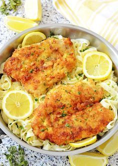 Romano Chicken with Lemon Garlic Pasta - crispy parmesan and panko breaded chicken with pasta in a fresh lemon garlic cream sauce! And you can make this tasty meal in 30 minutes! | Kitchen Nostalgia