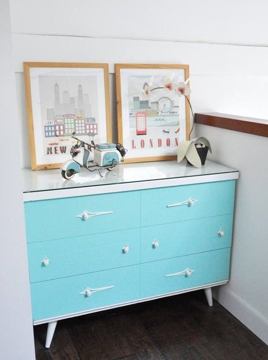 Before & After: Nicole's Jewelry Box Inspired Dresser Makeover | I love how this fits in so perfectly! Not my favourite colours, but still super adorable