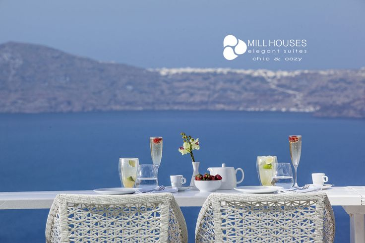 Relish a glass of chilled champagne, unobstructed views to the Aegean -Luxurious holidays at Mill Houses Elegant Suites! more at millhouses.gr
