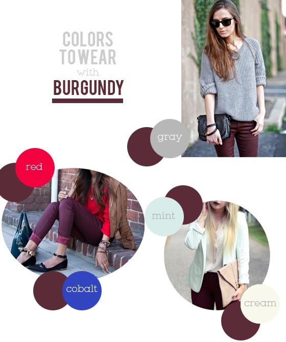 with an i.e.: What Colors to Wear With Burgundy