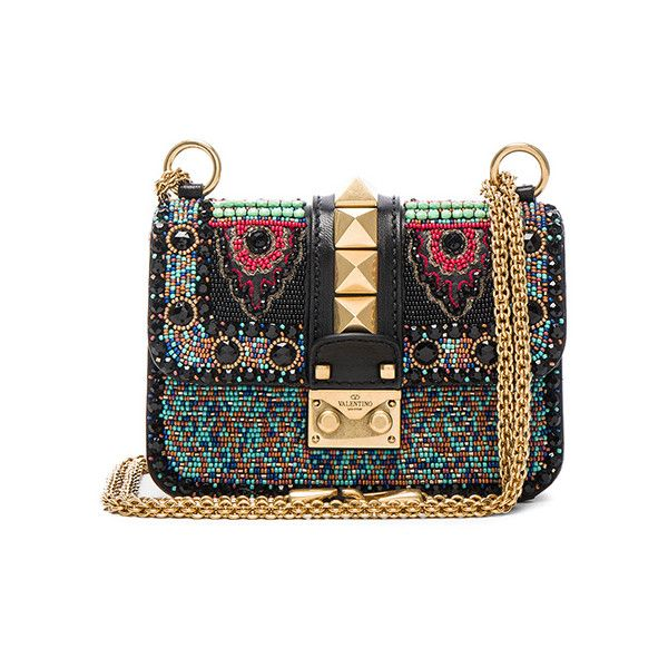 Valentino Mini Ethnic Glam Lock Bag (€1.885) ❤ liked on Polyvore featuring bags, handbags, shoulder bags, valentino, bolsas, leather shoulder bag, shoulder handbags, handbags shoulder bags, leather shoulder handbags and hand bags