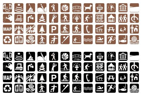 A large variety of icons for use on Parks and Recreation websites, displaying facilities, programs, features, and amenities.