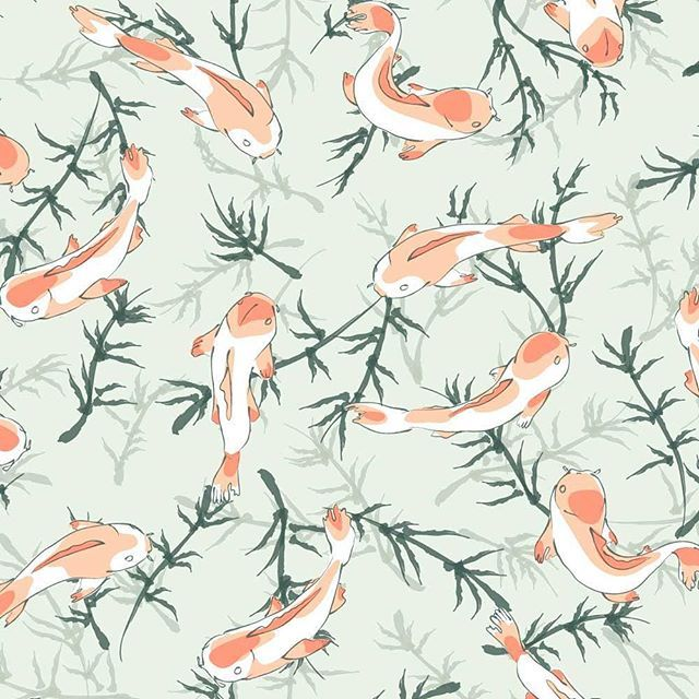 #pattern #design #illustration #surfacedesign #repeatpattern #textiledesign #koi #fishes #pond  #japanese #zen #oriental #estampado #diseño #peceskoi #carpas #estanque #Barcelona