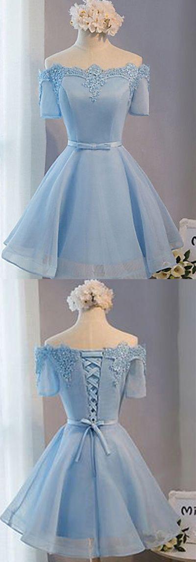 A-line Sleeves Off-shoulder Short Prom Dresses,Light Blue Tulle Homecoming Dress2017,New Arrival HCD16 Short Prom Dresses,Homecoming Dresses,Prom Gowns,Party Dresses,Graduation Dresses,Short Prom Dresses,Gowns Prom,Cheap Prom Gowns on Line