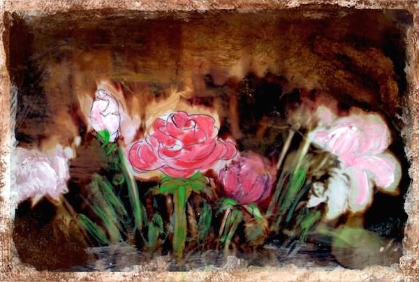 Winter Roses  Winter roses Brittle Petal drops begun  Fading out Majestic  Basked in Frosted sun.   Martin McDonnell 2015 Experimental mixture of photo print, crayon and paint. Both the poem and the i...