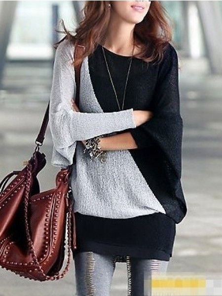 Cheap Campu Round Neck Long Sleeve Cotton Pullover - stylishplus.com