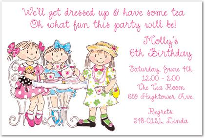 Trendy Girls Tea Party Birthday Party Invitations, 28532