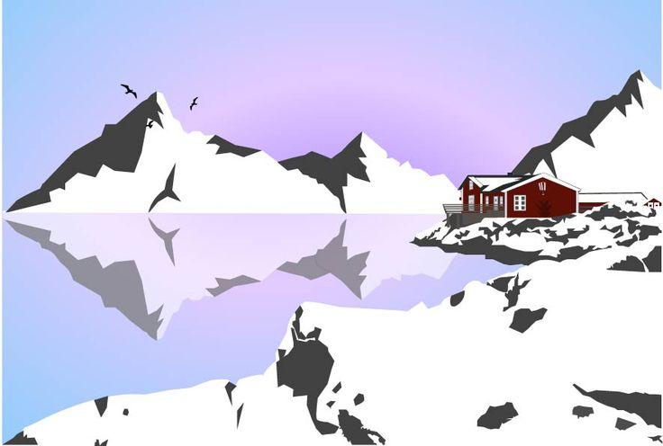 Solitude nordique #illustration #cold #paysage #montagne #reflet