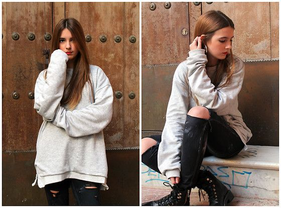 Get this look: http://lb.nu/look/8575609  More looks by Fashion Teen Church: http://lb.nu/fashionteen  Items in this look:  Stradivarius Botas, Pull & Bear Sudadera   #oversize #girls #look