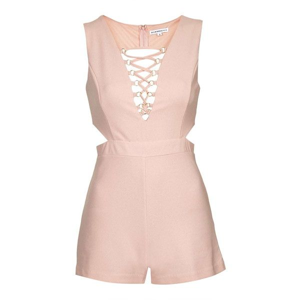 Lace-Up v-Neck Playsuit by Glamorous Petites ($49) ❤ liked on Polyvore featuring jumpsuits, rompers, dresses, pink, playsuit/jumpsuit, suit, v neck romper, romper jumpsuit, topshop rompers and topshop romper