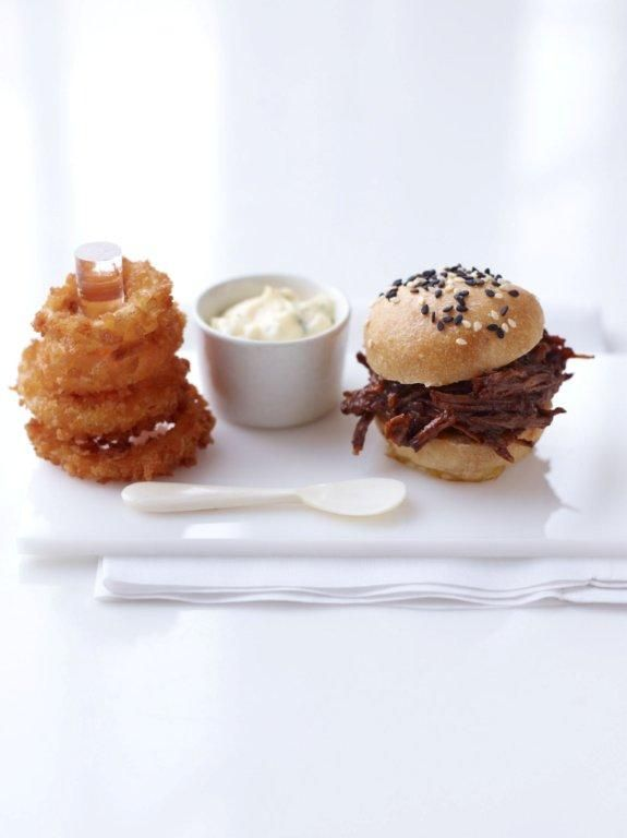 mini pulled pork + stacked onion rings | Peter Callahan