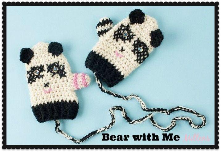 My latest design for Interweave Crochet & @Rachel Lee Me : Bear with Me, Panda Mittens!