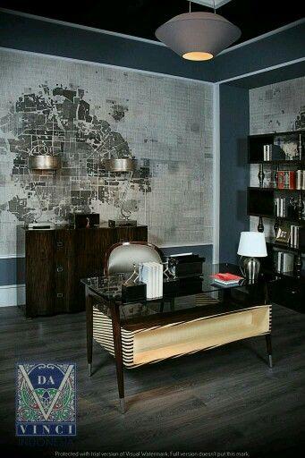 Da Vinci - office room - study room - wallpaper - side table - table lamp - modern - classic - contemporer