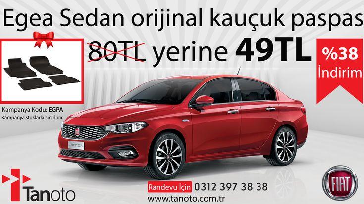 Egea Sedan orijinal kauçuk paspası 80 TL yerine 49 TL  %38 indirim! Randevu için 0312 397 38 38 arayabilir veya www.tanoto.com.tr adresinden bizlere ulaşabilirsiniz.  Kampanya atıklarla sınırlıdır. #tanoto #fiatservis #fiat #egeasedan