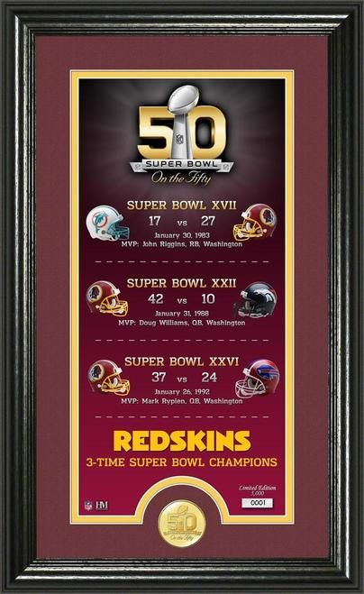 Washington Redskins Super Bowl 50th Anniversary Bronze Coin Supreme Photo Mint Z157-3320487360