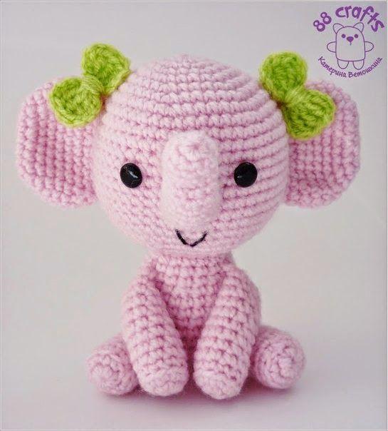 300 схем амигуруми на русском: Розовый слоник