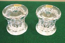 KOSTA BODA RURIK PILLAR STYLE CANDLE HOLDER x 2 by GORAN WARFF SWEDEN