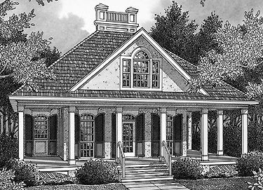 Not a huge fan of the roof & exterior details, but nice floor plan // Welcoming Guest Cottage (HWBDO14698) | Cottage House Plan from BuilderHousePlans.com
