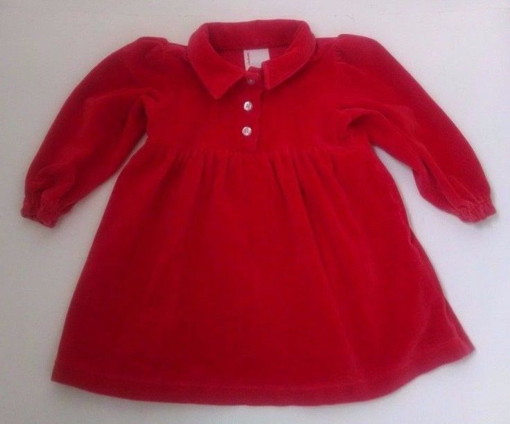 Hanna Andersson Baby Dress 80 18-24M Red Velour Long Sleeve Holiday Christmas #HannaAndersson #PulloverDress #DressyEverydayChristmasCasualParty