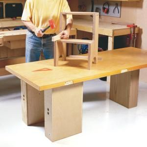Make more room for tools and carpentry projects with space-saving workbenches that set up or come apart in seconds. Made from recycled doors and other readily available materials, all these designs are both inexpensive and easy to build.