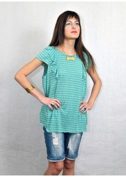 1977 By Social Chic Top with stripes Turquoise.