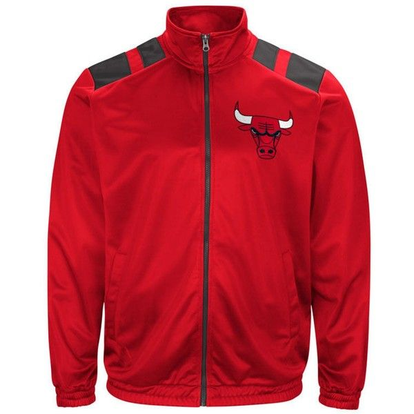 G-iii Men's Sports Chicago Bulls Broad Jump Track Jacket ($70) ❤ liked on Polyvore featuring men's fashion, men's clothing, men's activewear, men's activewear jackets, red, mens track jacket and mens track tops