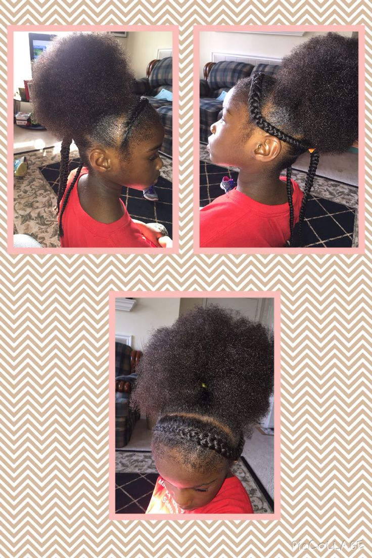 Braids and a ponytail puff/fro