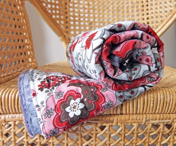 Retro Floral Red Grey Pink Blanket  Soft Minky  by TheCraftyPrawn