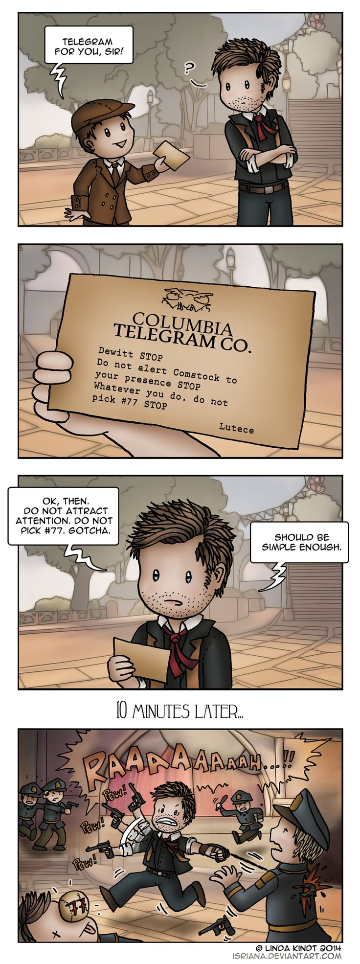 Bioshock Infinite: Low Profile by Isriana. So the question is...why didn't Booker listen to the telegram the Lutece Twins sent him?