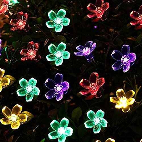 LeMorcy Flower Outdoor Solar String Lights, 16ft 20 LED F…