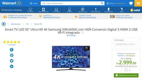 [Wal-Mart] Smart TV LED 50 ´ Ultra HD 4K Samsung 50KU6000 com HDR Conversor Digital 3 HDMI 2 USB Wi - Fi Integrado 2970450 por R$ 2.998,98
