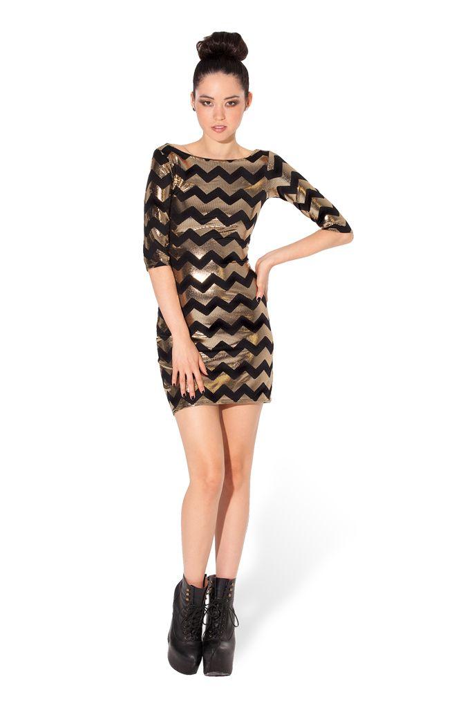 Zig Zag Gold 3/4 Dress By Black Milk Clothing